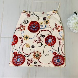 Talbots Cream Mini Skirt with red floral print 10